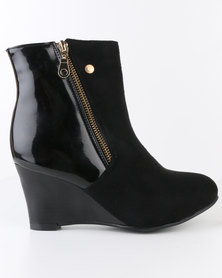 Carlo Bossi Wedge Ankle Boot With Side Zip Black