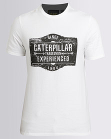 Caterpillar Mens Distressed Signage Tee White