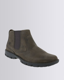 Caterpillar Hoffman Leather Casual Slip on Boot Dark Gull Grey