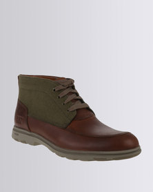 Caterpillar Carnaby Canvas Leather/Canvas Casual Lace Up Boot Brown