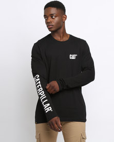 Caterpillar Mens Long Sleeve Logo Tee Black