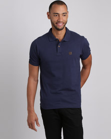 Caterpillar Pique Polo Blue Print
