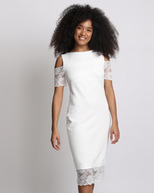 Cath.Nic Off The Shoulder Bodycon Knit Dress White