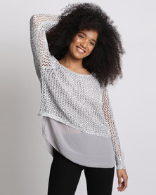 Cath.Nic Sparkel Twofer Knit Top Silver