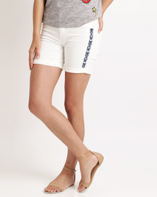 Cath Nic By Queenspark Aztec Design Denim Woven Shorts White