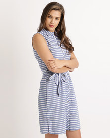 Cath Nic By Queenspark Sleeveless Bella Stripe Woven Dress Blue