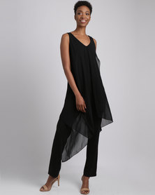 Cath Nic By Queenspark Soft Layered Knit Jumpsuit Black