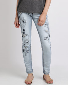 Cath Nic By Queenspark Swallow Embroidered Denim Woven Jean Blue
