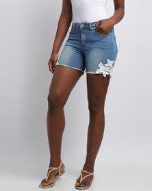 Cath Nic By Queenspark Lace Trim Denim Shorts Blue