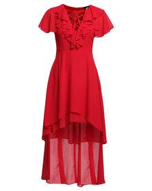 Catwalk 88 Zia Tiered Ruffle High Low Dress Red
