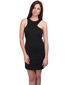 Catwalk 88 Margaret Asymmetric Cutaway Neck Mini Dress Black