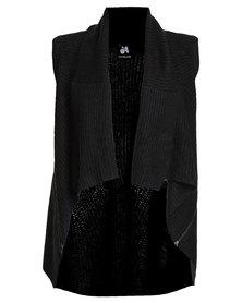 Catwalk88 Emma Zip Sweater Vest Black