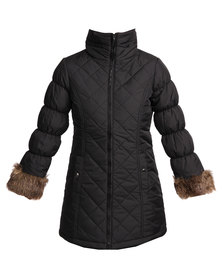 Catwalk 88 Fur Cuff Bubble Jacket Black