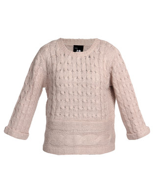 Catwalk 88 Isabella Cable Sweater Beige