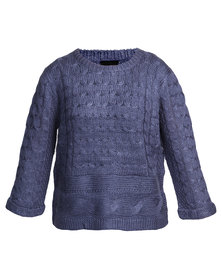 Catwalk 88 Isabella Cable Sweater Blue