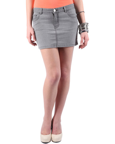 88 Bleached Denim Mini Skirt Grey