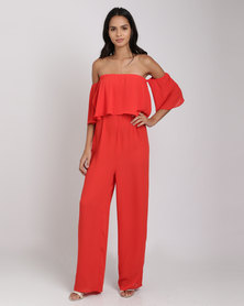 Catwalk 88 Off-The-Shoulder Jumpsuit Red