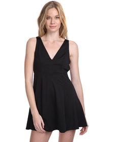 Catwalk 88 Little Black Cross Over Back Dress Black