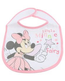 Character Brands Minnie Mouse Jersey Bibs White/Pink