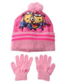 Character Brands Minions Beanie And Gloves Set Pink/Yellow