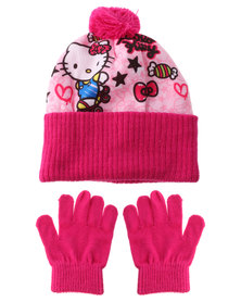 Character Brands Hello Kitty Beanie And Gloves Set Pink