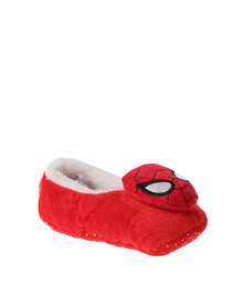 Character Brands Spiderman Sherpa Slippers Red
