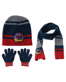 Character Brands Spiderman 3 Piece Winter Set Blue/Red