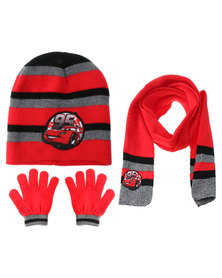 Character Brands Cars 3 Piece Winter Set Red/Grey