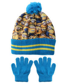 Character Brands Minions Beanie and Gloves Set Yellow