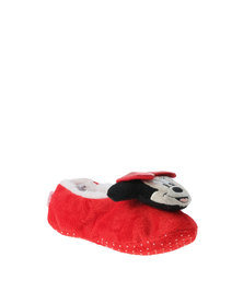 Character Brands Minnie Mouse Sherpa Slippers Red