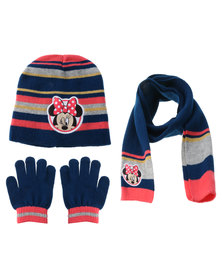 Character Brands Minnie Mouse 3 Piece Winter Set Blue/Red