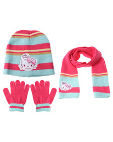 Character Brands Hello Kitty 3 Piece Winter Set Pink/Blue