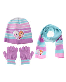 Character Brands Elsa 3 Piece Winter Set Blue/Purple