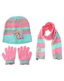 Character Brands Barbie 3 Piece Winter Set Pink/Blue