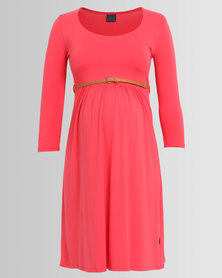 Cherry Melon Belted Scoop Neck Dress 3/4 Sleeve Coral
