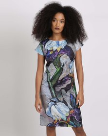 Cheryl Arthur  Iris Oil Painting Shift Dress Violet/Lilac