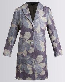 Cheryl Arthur Printed Wool Coat Stone/Charcoal