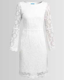Chica-Loca Bell Sleeve Lace Dress White