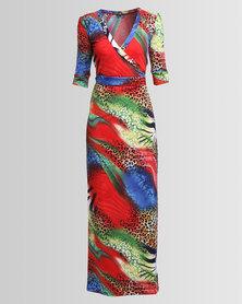 Chica-Loca 3/4 Sleeve Wrap Maxi Dress Red/ Blue Animal