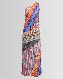 Chica-Loca One Shoulder Maxi Dress Bohemian Print Multi