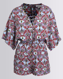City Goddess London Geometric Print Lace Up Playsuit Multi