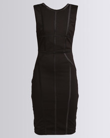 City Goddess London Bodycon Midi Dress with Line Detail Black