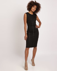 City Goddess London Bodycon Midi Dress with Line Detail Black