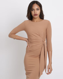 City Goddess London Pleated Fitted Midi Dress With Tie Detail Tan