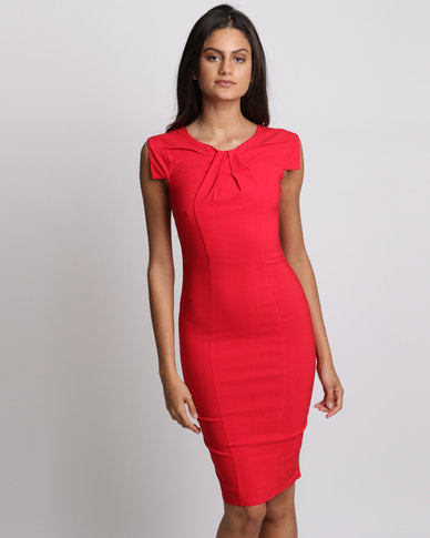 City Goddess London Pleated Fitted Midi Dress Red