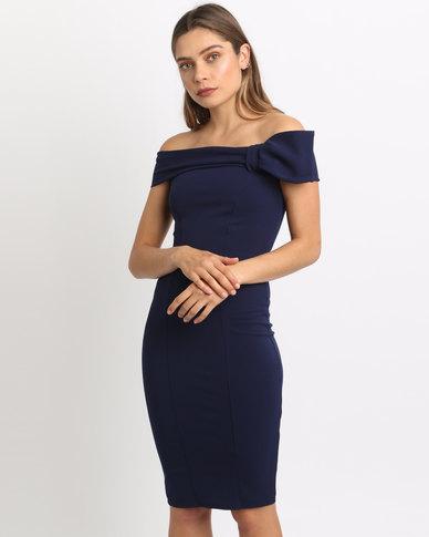 City Goddess London Bardot Midi Dress With Bow Detail Navy