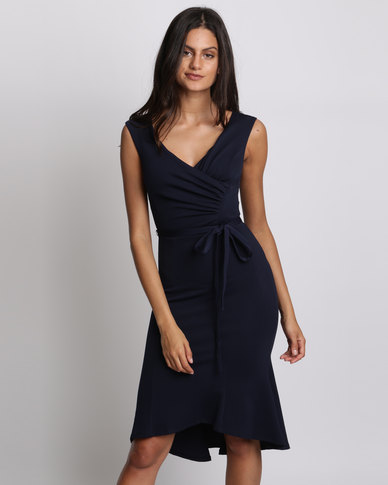 City Goddess London Pleated Midi Dress With Tie Detail Navy