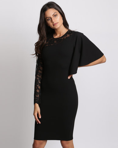 City Goddess London Asymmetric Sleeve Midi Dress With Lace Detail Black