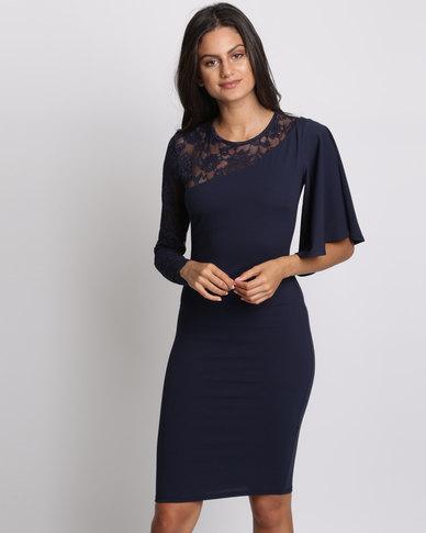 City Goddess London Asymmetric Sleeve Midi Dress With Lace Detail Navy