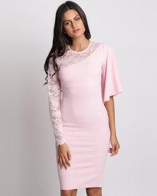 City Goddess London Asymmetric Sleeve Midi Dress With Lace Detail Pink